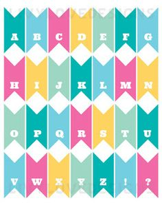 Printable alphabet bunting tips party planning pinterest free printable pennant banner download love stitched spiritdancerdesigns Images