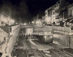 One of the first streetcars enters the Dupont Circle tunnel just as construction was wrapping up in 1949.