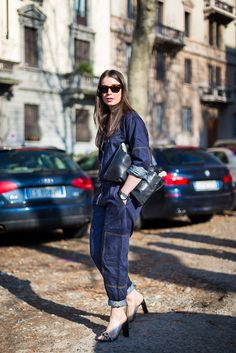 One-Step Style: The Denim Boilersuit: Irina Lakicevic tried the trend nearly a year ago with this dark-rinse all-in-one.