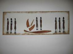 8 handgeschnitzte, braune Massaii auf Arcryl und Keilrahmen.
