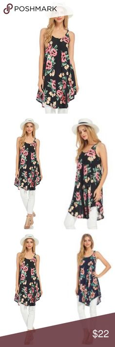 Sleeveless Black And Coral Floral Tunic Dress Sleeveless top with a black background and floral pattern in shades of coral. Tunic is higher on sides than in front and back. Fabric is a soft lightweight jersey. EVIEcarche  Tops