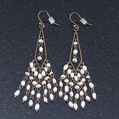 Vintage Inspired Freshwater Pearl Chandelier Earrings In Bronze Tone Metal - 80mm Length - main view