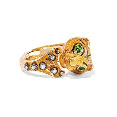 Gucci - Ring Aus 18 Karat Gold Mit Diamanten Und Emaille - Gelb