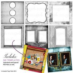 ScrapSimple Paper Templates: Exhibit Frames, digital scrapbooking paper frame templates