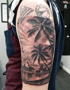 Mens Traveling Stamps Beach Tattoo Design On Arm