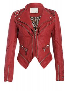 Pretty Attitude Women's Red Studded Pu Leather Slim Fit Moto Jacket