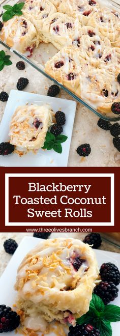 Sweet and tangy, these rolls are a special treat! Tart blackberries are paired with toasted coconut for a unique and delicious sweet roll! Perfect for breakfast or brunch and holiday mornings! Make them the day before for an easy morning. Vegetarian recipe.   Three Olives Branch   Blackberry Toasted Coconut Sweet Rolls   www.threeolivesbranch.com