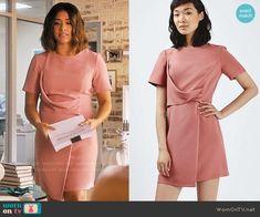 Jane's pink short sleeve draped front dress on Jane the Virgin.  Outfit Details: https://wornontv.net/65873/ #JanetheVirgin