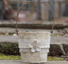 Rustic Birch Flower Girl Basket Linen, and Lace, Rustic Shabby Chic Weddings