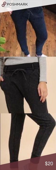 """Brand New Umgee Jogger/Leggings With Pockets🌸🌸 They are trendy, black mineral washed, comfy and can be dressed up or down!  Not bulky! Fully functional front pockets, I love pockets!  Not binding at all. Waist dipped in the front so the highness in the back keeps the cold air out or your shirt tucked in.  65"""" Cotton  35"""" Polyester  Laying Flat 13"""" Inseam approx 25"""" As always, reasonable offers are considered ❤️❤️ Umgee Pants Track Pants & Joggers"""