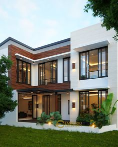 Simple Home Design Plan with 3 Bedrooms – SamPhoas Plan Modern Exterior House Designs, Dream House Exterior, Modern Architecture House, Dream House Plans, Modern House Design, Architecture Design, Modern Tropical House, Duplex House Design, House Front Design