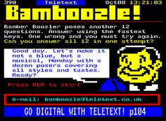 Ceefax is being switched off today.made us remember the days of playing Bamboozle before school. Yes, this was technically on Teletext, but. Kids Tv, 90s Kids, Those Were The Days, The Good Old Days, 1980s Childhood, Childhood Memories, Video Game Magazines, Teenage Years, Growing Up