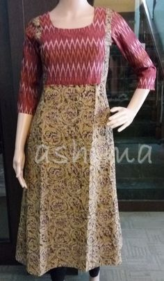 beige printed with Kanchipuram pallu contrast Salwar Neck Designs, Kurta Neck Design, Sari Blouse Designs, Kurta Designs Women, Dress Neck Designs, Designs For Dresses, Simple Kurta Designs, Churidhar Designs, Kalamkari Dresses