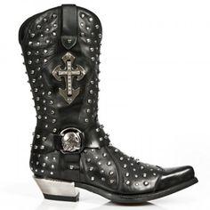 M.7954-C1 Black Studded New Rock Cowboy Boots w/ Cross