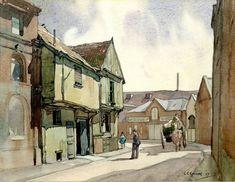 'The Green Man Inn', Salthouse Street, Ipswich Bury St Edmunds, Cottage Art, Art Uk, Green Man, Art Boards, Old Photos, Find Image, Port Isaac, Explore