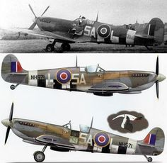"""Raphaël LOMBAERT on the wing of his Spitfire IXc (s/n NH571) of No. 329 (Free French) Squadron RAF (GC I/2 """"Cigognes"""")."""
