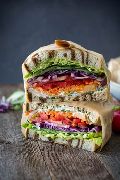 Eat the rainbow with California veggie sandwich with fresh herb mayo. Layers of colorful, fresh vegetables piled high with grainy dijon and fresh herb mayo and spicy avocado spread. Veggie Recipes, Whole Food Recipes, Vegetarian Recipes, Cooking Recipes, Healthy Recipes, Best Vegetarian Sandwiches, Going Vegetarian, Vegetarian Breakfast, Vegetarian Dinners