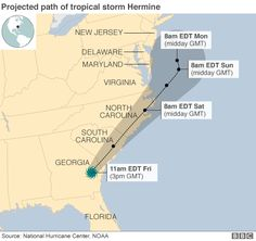 Map showing expected path of Hurricane Hermine - 2 September 2016