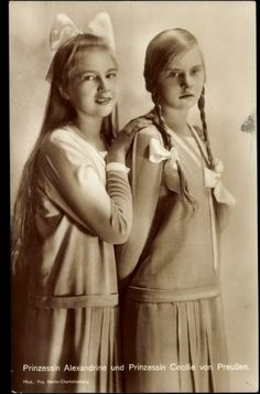 Princesses Cecilie and Alexandrine of Prussia, daughters of Crown Prince Wilhelm. Alexandrina was born with Down's Syndrome.