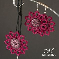Pendant and earrings set. Dark Pink by Middia on Etsy, $42.00