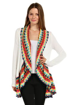CROCHET ACCENT WATERFALL CARDIGAN-Dark Coral | Cardigans ...