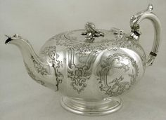 English Sterling Silver Birds in Garden Teapot Newcastle 1855 RARE | eBay
