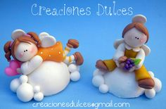 angels on clouds ornaments Polymer Clay Ornaments, Polymer Clay Figures, Polymer Clay Dolls, Homemade Clay Recipe, Clay Figurine, Fondant Toppers, Sugar Art, Ceramic Clay, Cold Porcelain
