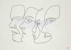 Image about art in Illustrations by Mariana on We Heart It Contour Drawing, Line Drawing, Drawing Art, Art Inspo, Art Sketches, Art Drawings, Drawing Faces, Art Du Croquis, Art Et Illustration