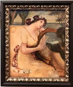 "Beautiful Old Artist Signed Portrait Painting   A young woman playing a harp.  12"" Wide x 14.5"" High   $495  #fun2959  Rick's Antiques and Home Decor, Dealer #36  White Elephant Antiques  1026 N. Riverfront Blvd. Dallas, TX 75207"