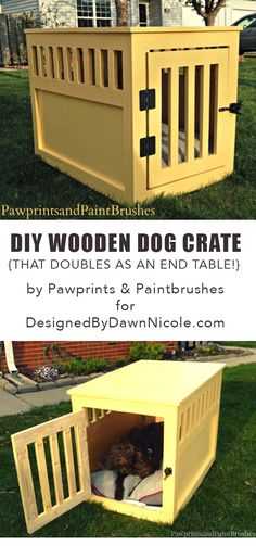 DIY Wooden Dog Crate that doubles as an end table!. See the full tutorial on bydawnnicole.com #woodworking