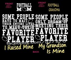 Football Mom or Grandma Tee Design 2 - Favorite Player   Shannon Golden Designs - Roanoke Rapids, NC