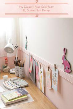 Hanging Kids Artwork, Displaying Kids Artwork, Artwork Display, Girls Room Design, Nursery Design, Kids Study Desk, Aqua Nursery, Rose Gold Rooms, Nest Design