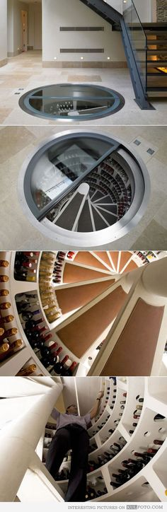 Wine cellar in the floor  DO WANT!
