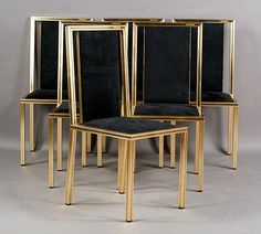 15: SIX FRENCH MODERN BRASS DINING CHAIRS