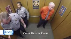 (CNN) -How would you celebrate your retirement after 29 years as a sheriff's deputy? How about a little dancing in the elevator?