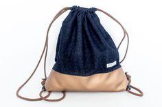 Turnbeutel+Jeans+-+Kunstleder+bronze++von+allerlei+Taschen+auf+DaWanda.com