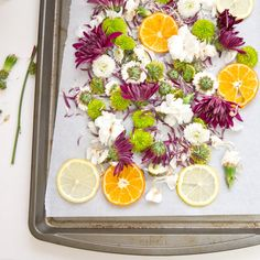 Homemade potpourri by drying fresh flowers and citrus in the oven for 2 hrs, add powdered orris root to prolong scent, line bottom of bowl w floral foam, moss or tissue, Alternatively sun dry flowers, then add powder & essen oil, mix well in sealed  bag and leave mix to season for 4-6 weeks