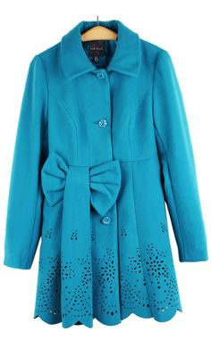 Hollow out bow long-sleeved woolen jacket