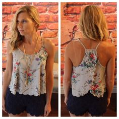 "Gray floral scalloped tank Modeling size small, 100% polyester.  Measurements for bust laying flat: S 19"" M 20"" L 21"" length S 20"" M 21"" L 22""  Available in S Please comment size needed if you would like to purchase and I can make you a personal listing.  Discounts available when bundling two or more items from my closet. FG1308100 Tops Tank Tops"