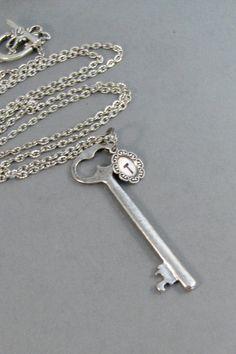 Skeleton Key,Necklace,Monogram Necklace,Initial,Monogram,Key Necklace,Antiqued Necklace,Antique Key,Antique Monogram,Initial Disc,ValleyGirl on Etsy, $24.00