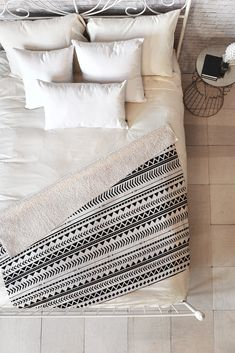 Allyson Johnson Black And White Aztec Pattern Fleece Throw Blanket | Deny Designs