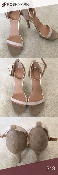 FOREVER 21 SUEDE NUDE HEELS WITH METALLIC TRIM Cute suede heels with metallic trim. The heels have some wear from wearing around the house, otherwise in good condition. Can be worn to dress up any outfit! Forever 21 Shoes Heels