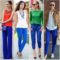Love these outfits EXCEPT for those capris! So hideous. Not a fan of the sandal heels or length of the wide leg trousers either. Cobalt Pants Outfit, Cobalt Blue Pants, Bright Blue Pants, Capri Pants Outfits, Colored Pants Outfits, Royal Blue Outfits, Blue Jean Outfits, Royal Blue Jeans, Casual Work Outfits