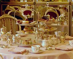 ~ afternoon tea at The Ritz ~ hot tea, finger sandwiches, cakes, scones spread with clotted cream and jam ~ England ~