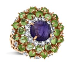 Viola, Round-cut Amethyst,Peridot & White Topaz Ring in Sterling Silver Rose Plated