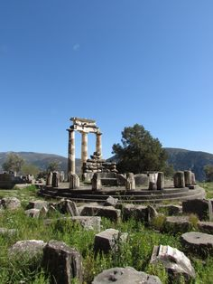 The Tholos at the Sanctuary of Athena, in Delphi, Greece via www.davestravelpages.com