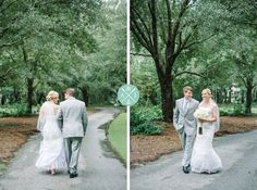 BRIDE AND GROOM WALKING AT A SOUTHERN STYLE PALMETTO LANDING WEDDING IN CHARLESTON, SOUTH CAROLINA » Aaron and Jillian Photography