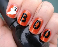 halloween nail designs | this is yet another rather simple halloween nail art design the only ...