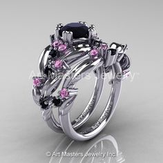 Nature Classic 14K White Gold 1.0 Ct Black Diamond Light Pink Sapphire Leaf and Vine Engagement Ring Wedding Band Set R340S-14KWGLPSBD-1