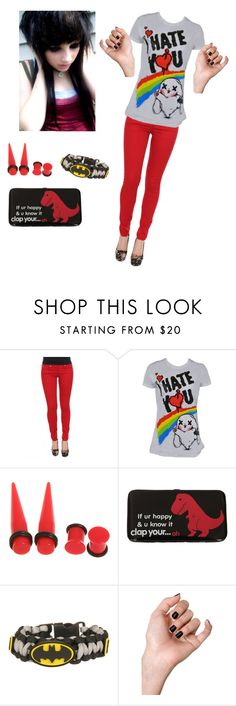 """""""Red emo outfit"""" by xxfadingscarxx ❤ liked on Polyvore featuring hot topic, emo, batman and girl"""